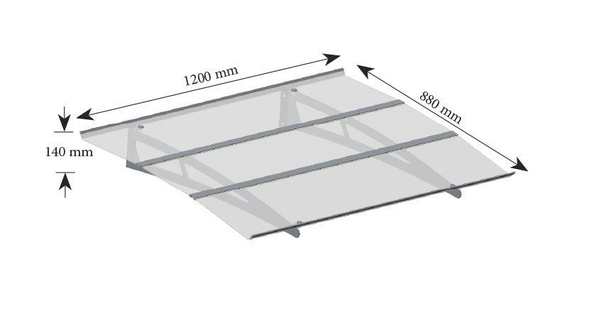 MADRID Durvju jumtiņš pelēks 1200 mm