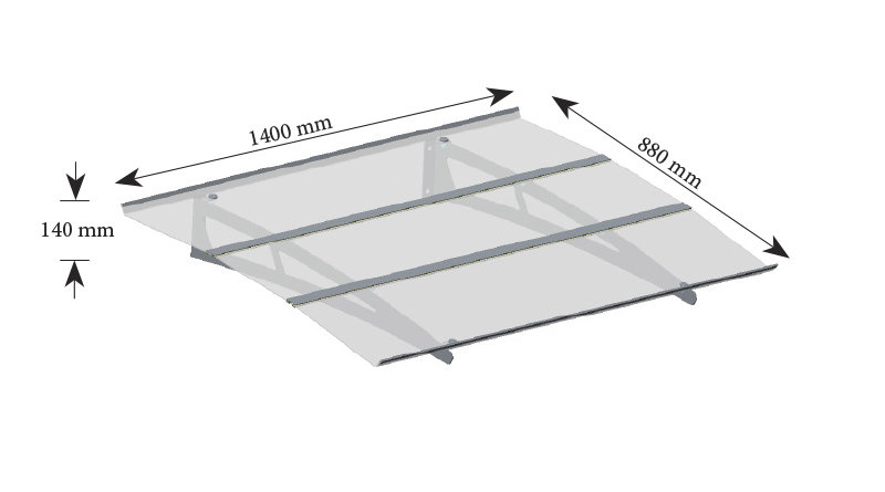 MADRID Durvju jumtiņš pelēks 1400 mm