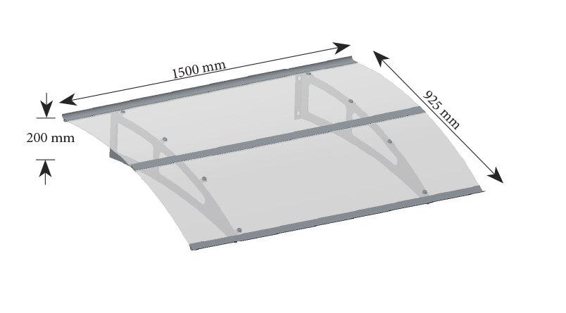 BERLIN Durvju jumtiņš melns 1500 mm
