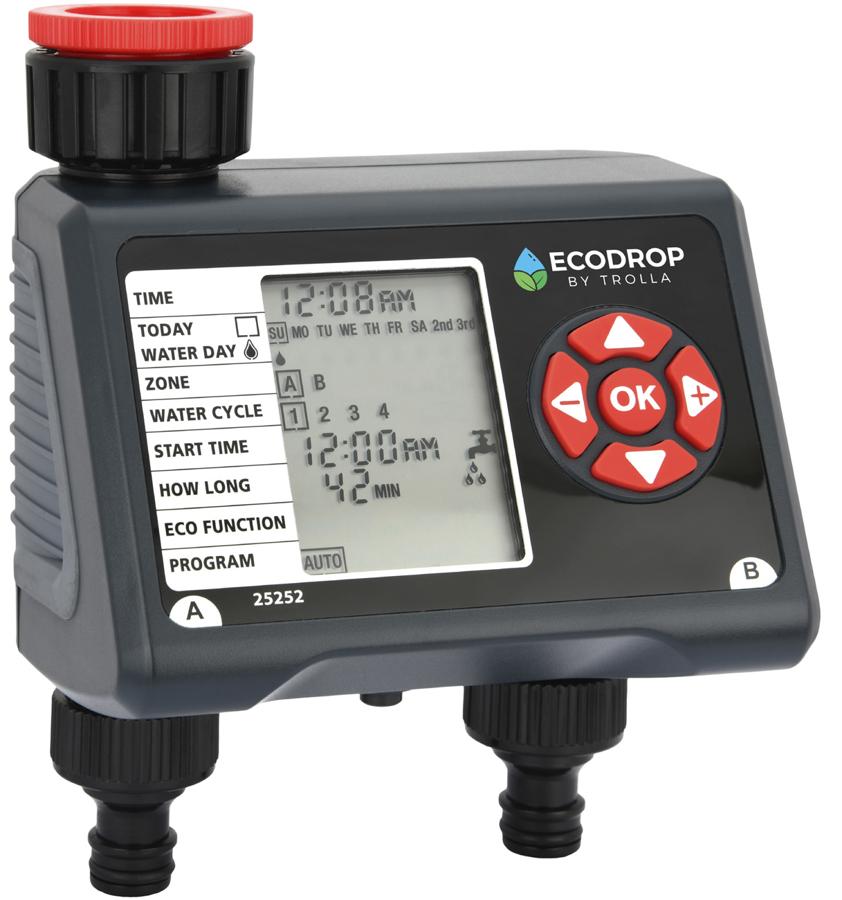 Elektroniskais 2 zonu laistīšanas taimeris Ecodrop